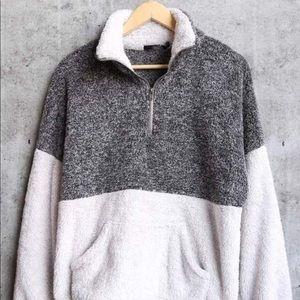 Sweaters - Sherpa fur fuzzy zip pullover sweater